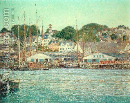 Gloucester Harbour, 1917 by Childe Hassam - Reproduction Oil Painting