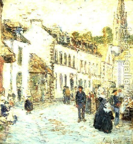 An Evening Street Scene, Pont Aven by Childe Hassam - Reproduction Oil Painting
