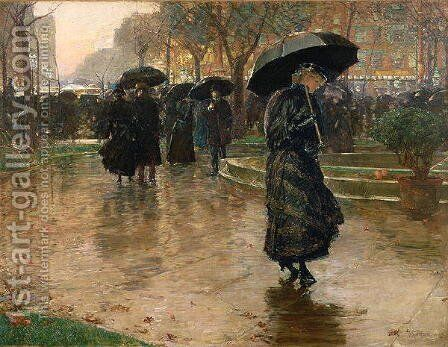 Rain Storm, Union Square, 1890 by Childe Hassam - Reproduction Oil Painting