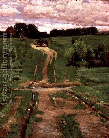 A Back Road, c.1880s by Childe Hassam - Reproduction Oil Painting