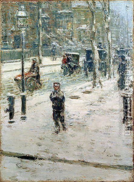 Snow Storm, Fifth Avenue, 1907 by Childe Hassam - Reproduction Oil Painting