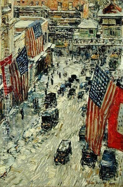 Flags on 57th Street, Winter 1918 by Childe Hassam - Reproduction Oil Painting