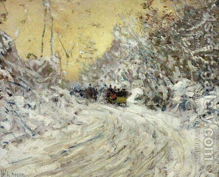 Sleigh Ride in Central Park by Childe Hassam - Reproduction Oil Painting