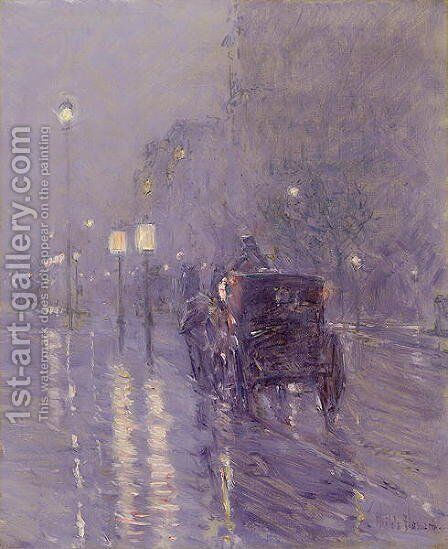 Rainy Midnight, late 1890s by Childe Hassam - Reproduction Oil Painting