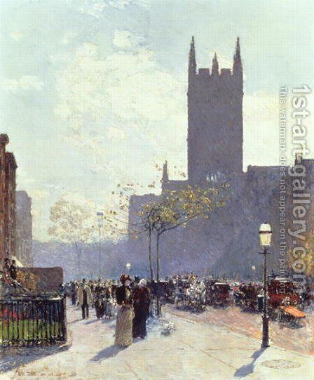 Lower Fifth Avenue, 1890 by Childe Hassam - Reproduction Oil Painting