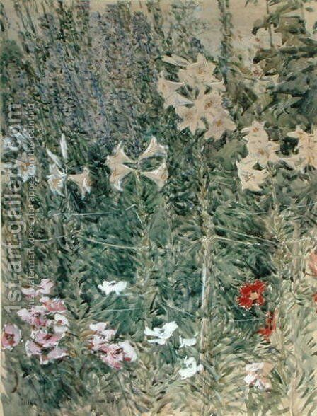 Larkspurs and Lilies, 1893 by Childe Hassam - Reproduction Oil Painting