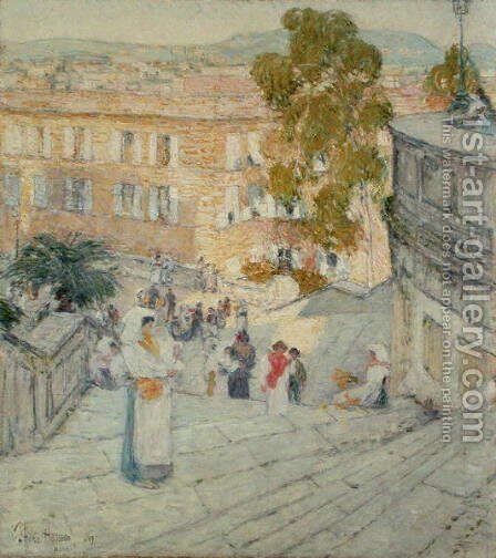 The Spanish Steps of Rome, 1897 by Childe Hassam - Reproduction Oil Painting