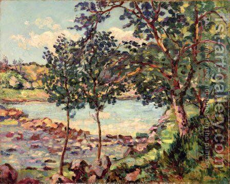 Landscape with a Lake by Armand Guillaumin - Reproduction Oil Painting