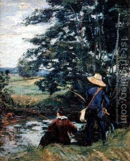 The Anglers, c.1885 by Armand Guillaumin - Reproduction Oil Painting