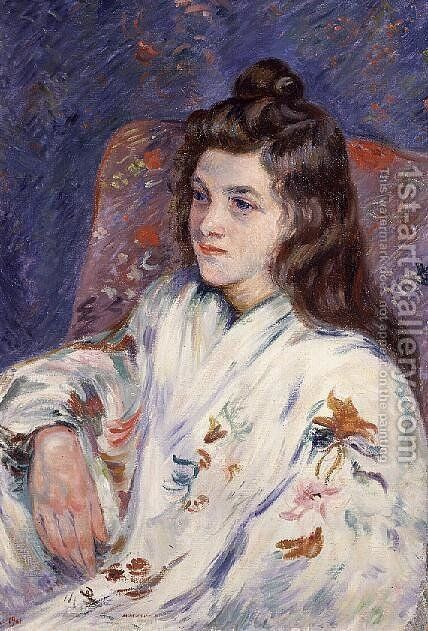 Portrait of Mlle. Guillaumin in a kimono, 1901 by Armand Guillaumin - Reproduction Oil Painting