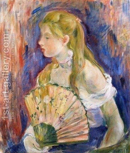Young Girl with a Fan 1893 by Berthe Morisot - Reproduction Oil Painting
