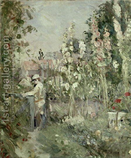 Young Boy in the Hollyhocks by Berthe Morisot - Reproduction Oil Painting