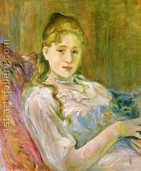 Young Girl with Cat 1892 by Berthe Morisot - Reproduction Oil Painting