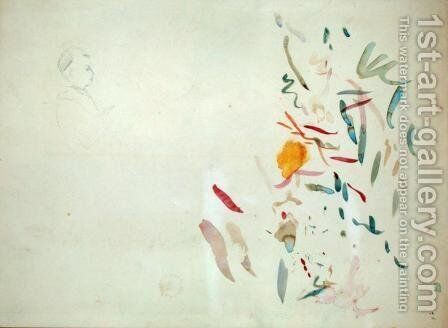 Sketch of a womans head and lines of colour possibly from a sketchbook 1887 by Berthe Morisot - Reproduction Oil Painting