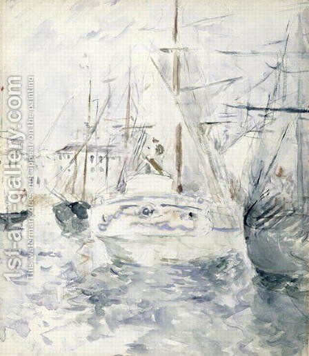 White Boat in the Port  Nice 1881 by Berthe Morisot - Reproduction Oil Painting