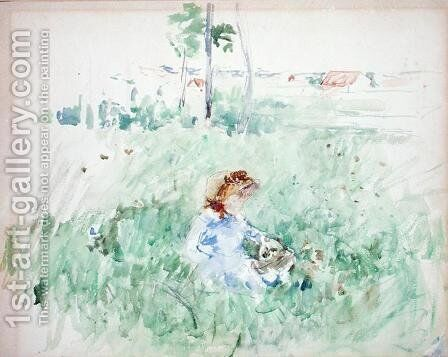 Young Girl Seated on the Lawn 1882 by Berthe Morisot - Reproduction Oil Painting