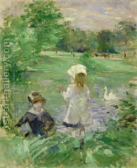 Beside a Lake 1883 by Berthe Morisot - Reproduction Oil Painting