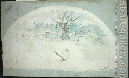 Fan depicting Bougival, 1884 by Berthe Morisot - Reproduction Oil Painting