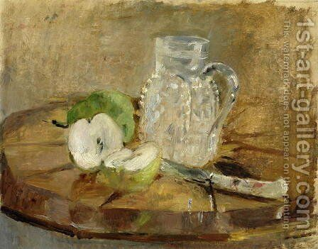 Still Life with a Cut Apple and a Pitcher 1876 by Berthe Morisot - Reproduction Oil Painting