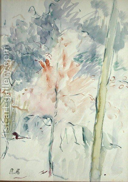 Red Tree in a Wood 1893 by Berthe Morisot - Reproduction Oil Painting