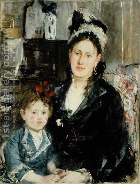 Mme Boursier and Her Daughter 1873 by Berthe Morisot - Reproduction Oil Painting