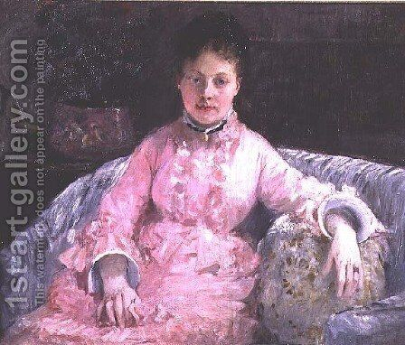 Portrait of a Woman in a pink dress by Berthe Morisot - Reproduction Oil Painting