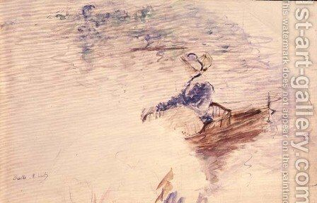 Sketch of a Young Woman in a Boat 1886 by Berthe Morisot - Reproduction Oil Painting