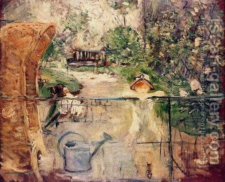 Little Girls in the Garden or, the Basket Chair 1885 by Berthe Morisot - Reproduction Oil Painting