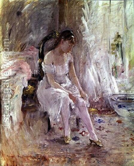 Young Girl Putting on Her Stockings by Berthe Morisot - Reproduction Oil Painting