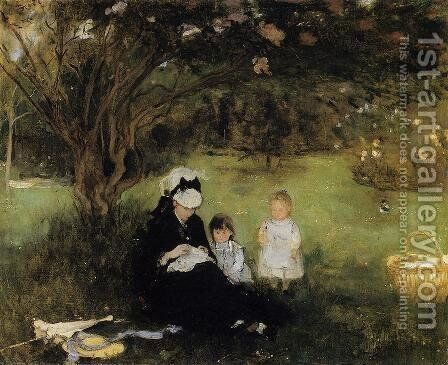Beneath the Lilac at Maurecourt 1874 by Berthe Morisot - Reproduction Oil Painting