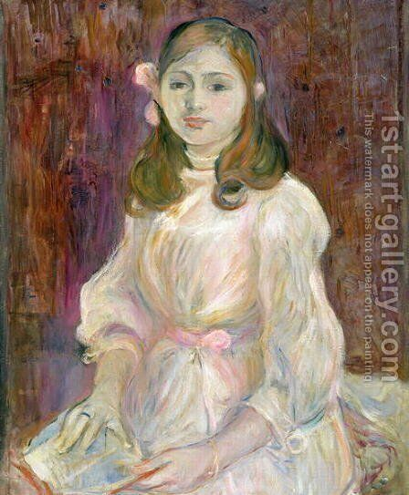 Portrait of Julie Manet (1878-1966) Holding a Book 1889 by Berthe Morisot - Reproduction Oil Painting