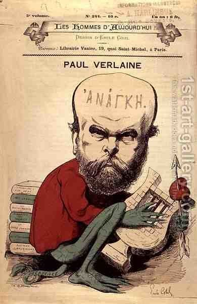 Caricature of Paul Verlaine (1844-96) from Les Hommes d'Aujourd'hui by Emile Cohl - Reproduction Oil Painting