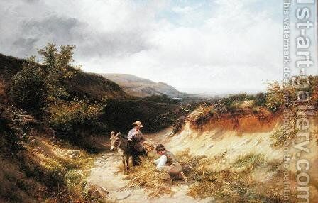 A Sandy Lane in Sussex, 1866 by George Cole, Snr. - Reproduction Oil Painting
