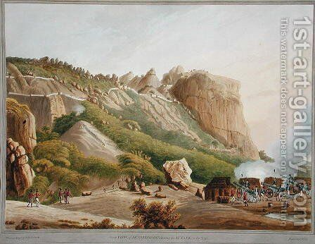 North View of Sewandroog showing the Attack in December 1791 by (after) Robert H.Colebrooke - Reproduction Oil Painting