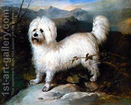 Small White Dog in a Landscape by Samuel Colman - Reproduction Oil Painting