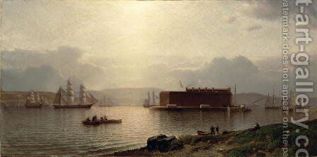 The Narrows and Fort Lafayette  Ships coming into Port  New York Harbour  1868 by Samuel Colman - Reproduction Oil Painting