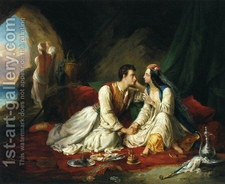 Byron as Don Juan, with Haidee, 1831 by Alexandre-Marie Colin - Reproduction Oil Painting