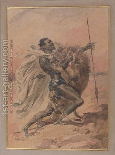 Struggle between a Warrior and a Lion by Alexandre-Marie Colin - Reproduction Oil Painting