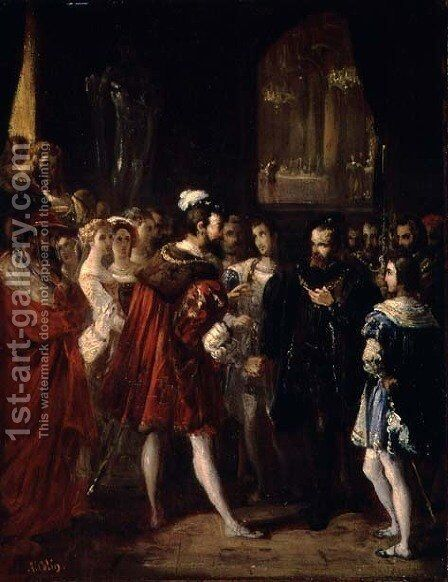 Charles V (1500-58) received by Francis I (1494-1547) at the Louvre, c.1843 by Alexandre-Marie Colin - Reproduction Oil Painting