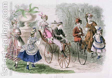 Children in the Park, from La Saison, Journal Illustre des Dames   May 1869 by H. Colin - Reproduction Oil Painting