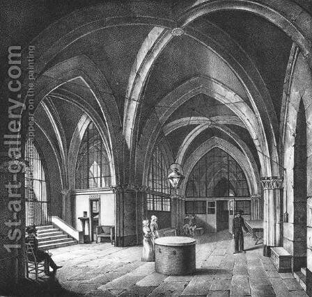 nterior view of the entrance room at the Conciergerie Prison 1831 by (after) Collard - Reproduction Oil Painting