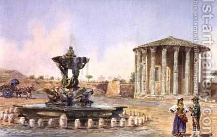 The Temple of Vesta in Rome, late 19th century by Antonio Colli - Reproduction Oil Painting