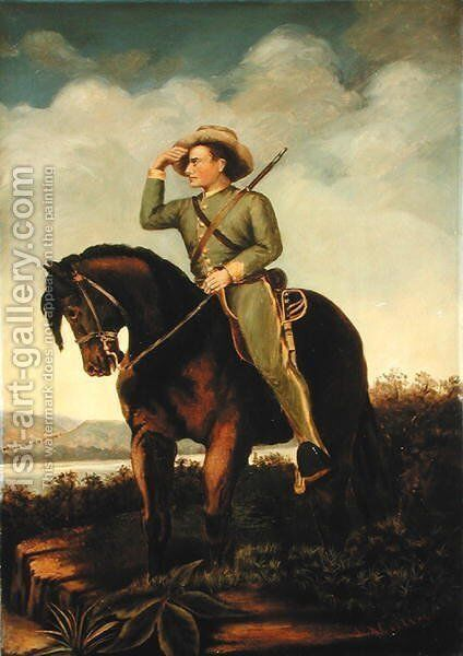 A Confederate Scout of General Turner Ashby at the Valley near Luray and New Hacket by J. A. Collins - Reproduction Oil Painting