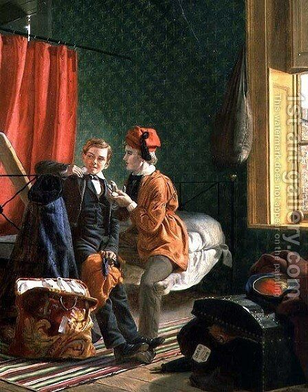 Temptation, or Bleeding the Freshman by James Collinson - Reproduction Oil Painting