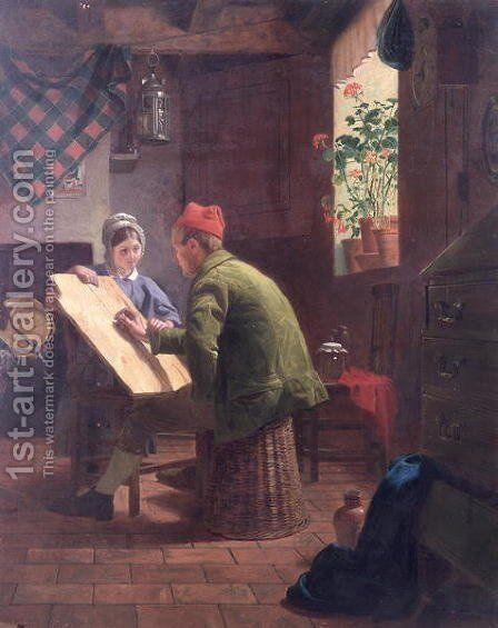 The Writing Lesson, 1855 by James Collinson - Reproduction Oil Painting