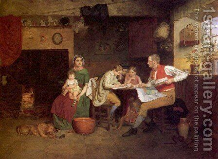 Answering the Emigrant's Letter, 1850 by James Collinson - Reproduction Oil Painting