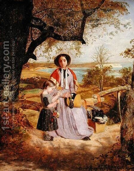 Mother and Child by a Stile, with Culver Cliff, Isle of Wight, in the distance  c.1849-50 by James Collinson - Reproduction Oil Painting