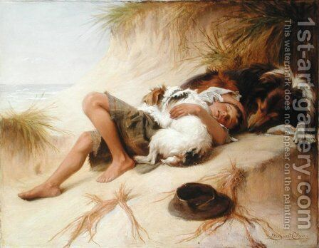 Young Boy Asleep with Dogs, 1905 by Margaret Collyer - Reproduction Oil Painting
