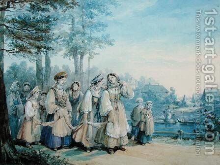 Russian Peasants, 1840 by Colmann - Reproduction Oil Painting