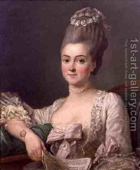 Portrait of a Lady Holding a Sheet of Music, 1766 by Jean Francois Colson - Reproduction Oil Painting